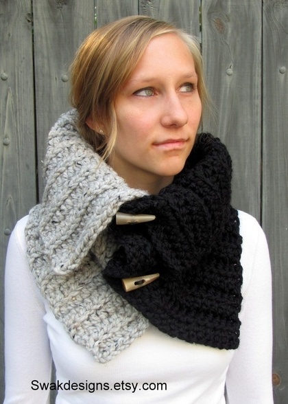 Chunky Cowl Hooded Cowl with Horns Hooded Scarf by SWAKCouture - StyleSays