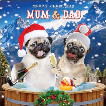 Pug Christmas cards now HALF price at www.ilovepugs.co.uk post worldwide
