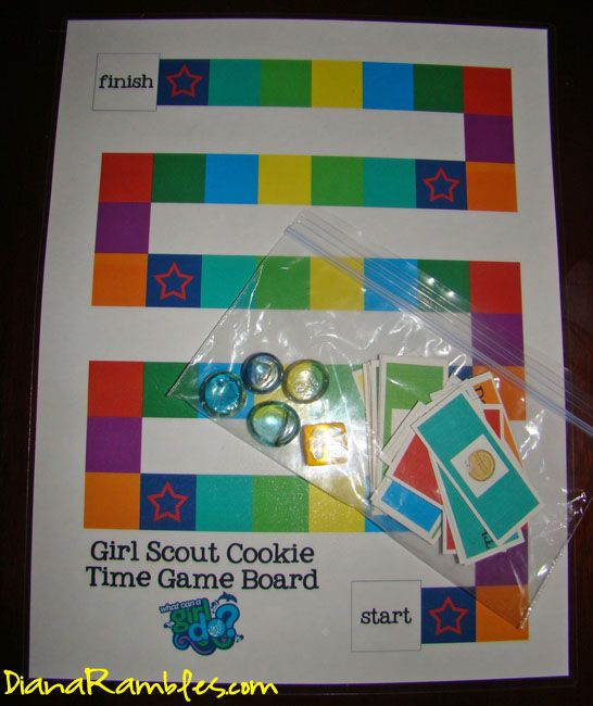 girl scout cookies game board Free printable- need to update flavored