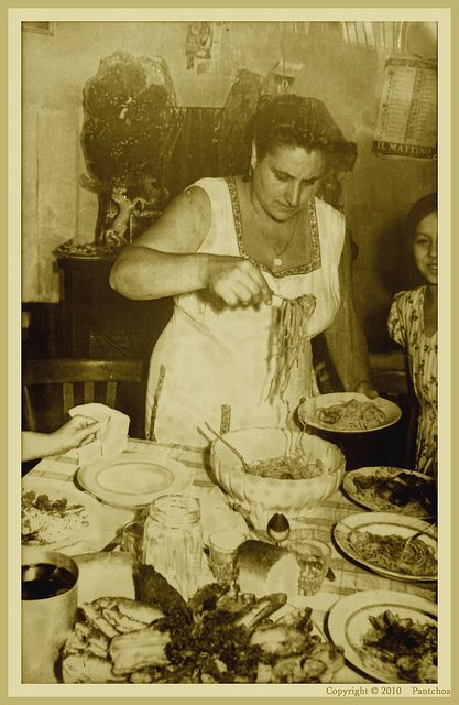 Photo from Hosteria Toledo, Napoli  This lady reminds me so much of my mother-in-law, Rosa!   Mangia! Mangia!