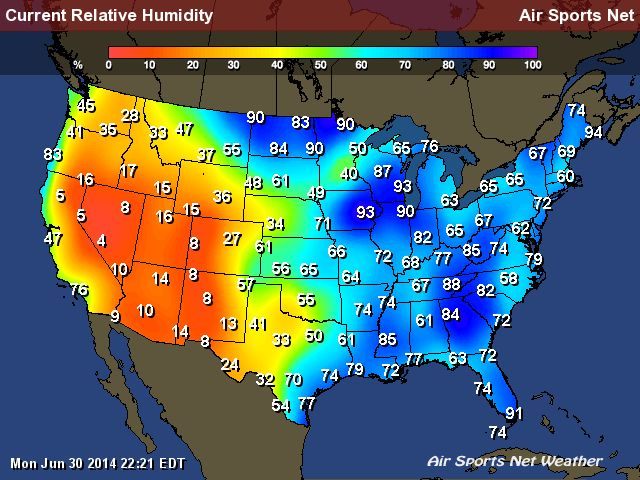 Relative Humidity Map for the United States