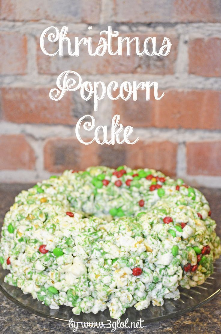 Christmas Popcorn Cake. Molded to look like a wreath using a bundt pan. #popcorncake #Christmasfood www.3glol.net (scheduled via http://www.tailwindapp.com?utm_source=pinterest&utm_medium=twpin&utm_content=post351687&utm_campaign=scheduler_attribution)
