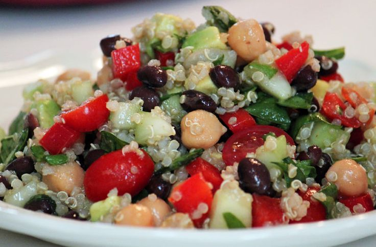 This Quinoa Fiesta Salad not only tastes great - it's great for you! A high protein salad you'll make again and again, and it couldn't be easier. - See more at: http://vegannook.com/recipe/quinoa-fiesta-salad#sthash.FiLgwMvi.dpuf