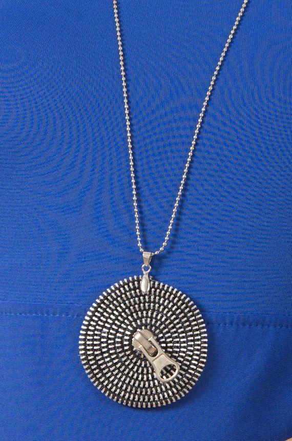 Necklace Zipper, modern long necklace, handmade zipper necklace