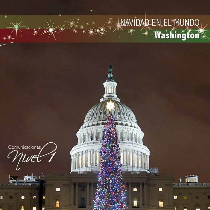 """La navidad en Washington La ciudad pone un árbol de Navidad al lado de """"La Pared"""" (""""The Wall""""), o el monumento a los veteranos de Vietnam, varios días antes de Navidad, los visitantes ponen tarjetas de Navidad y adornos en el árbol. La capital del país monta fiestas, espectáculos de fuegos artificiales y cruceros por el río Potomac para la víspera de Año Nuevo."""