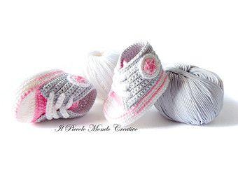 converse de ganchillo crochet zapatos por ParadiseShoes en Etsy