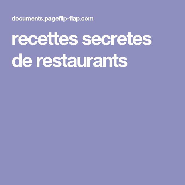 recettes secretes de restaurants