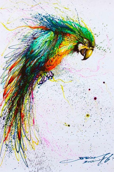 Живопись красочными брызгами. Картины от Hua Tunan (он же Chen Yingjie)