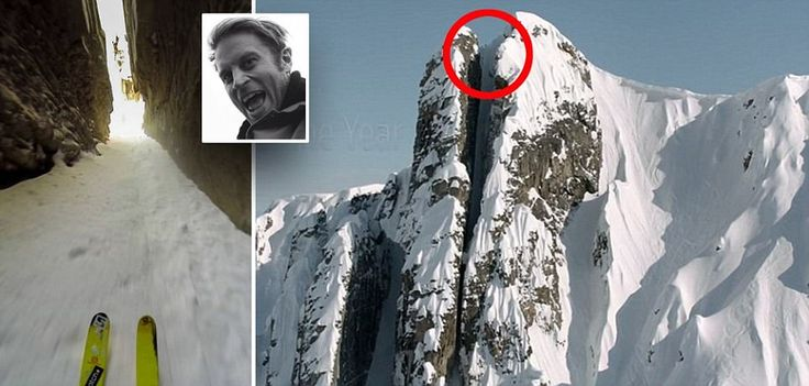 #ski run down a vertical 5ft wide crevice #travel