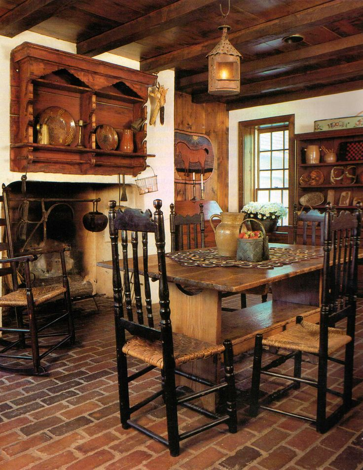 FARMHOUSE INTERIOR Early American Decor Inside This Vintage Farmhouse Seems Perfect Like In Dining Area With Exposed Beams And Brick Floor