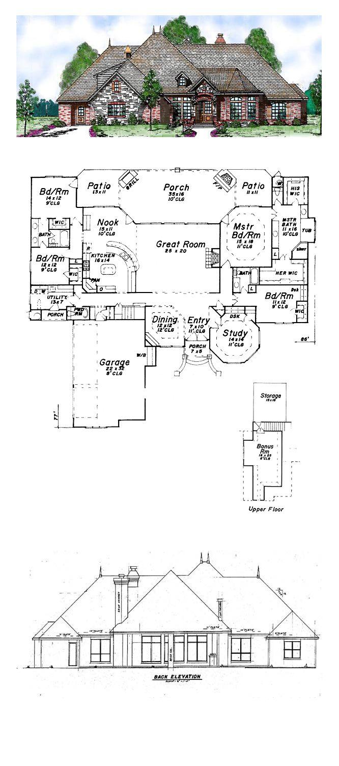 European House Plan 57155 | Total Living Area: 3233 sq. ft., 4 bedrooms 3.5 bathrooms. #houseplan #europeanstyle