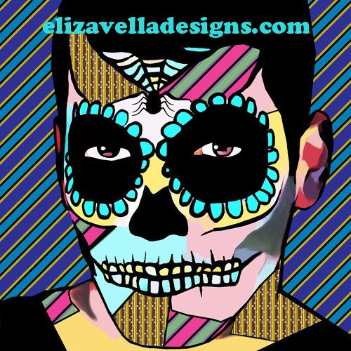 Skeleton guy sugar skull printable wall art day of the dead abstract digital download graphics zombies