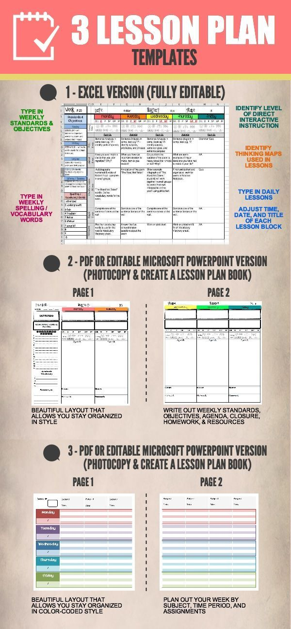 This bundle offers three different lesson plan templates that are available as PDF's or editable in either Microsoft Excel or Microsoft PowerPoint! he Microsoft Excel version covers an entire year from June 2013 through June 2014.   Start your year off right and record your lessons with ease and in style on any one of these lesson plan templates.: