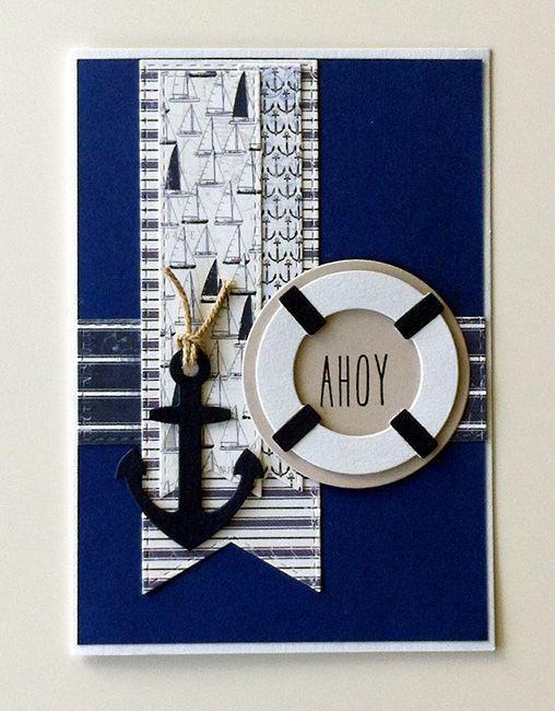 Card - nautical marine sailing anchor - maritim nautisk anker redningskrans - Maja design paper - #majadesign - By the Sea