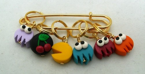 Stitch Markers PAC Mpnster Knit or Crochet set of 6 Video game Ghost