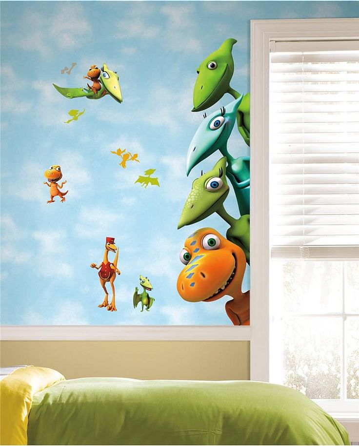Gorgeous Dinosaur Themed Kids Room With Fun Wall Mural Enliven Your Kidsu0027  Bedroom With Dinosaur Themed Wall Art And Murals