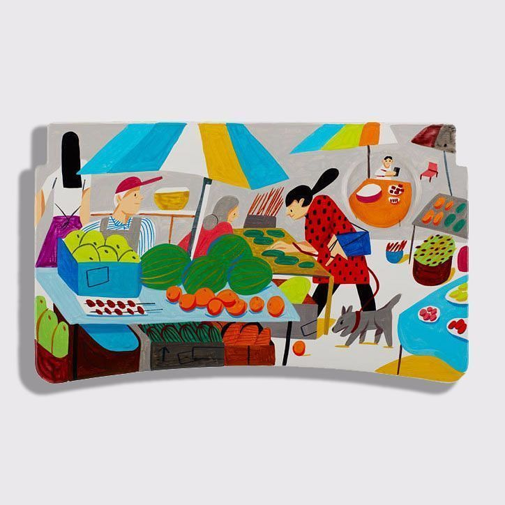 Ping Zhu hand painted tray for Delta Airlines with Coca Cola
