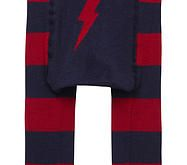 Boy's footless tights - Red & blue stripe leggings featuring a red lightening bolt on the bottom.  75% Organic Cotton, 20% Polyamide, 5% Elastane
