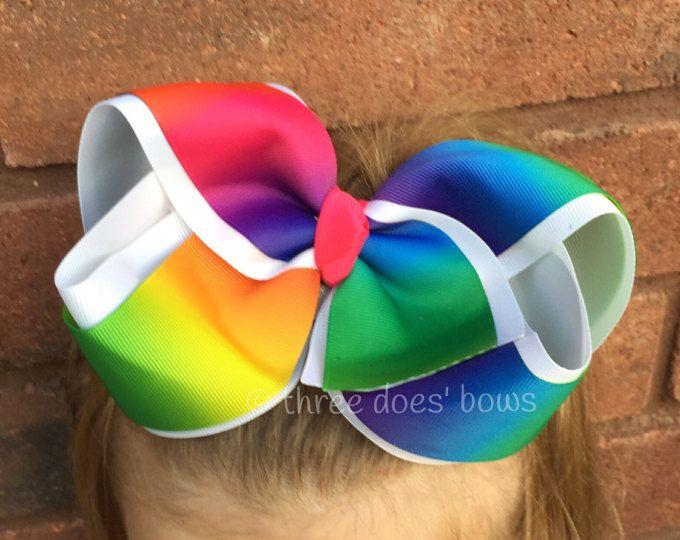 -Arcos del pelo del arco iris - arco iris Boutique Bow - arco del pelo de arco iris enorme - grandes arcos - arcos de la Boutique Jumbo - Jumbo arco del pelo de los arcos del pelo del arco iris XL