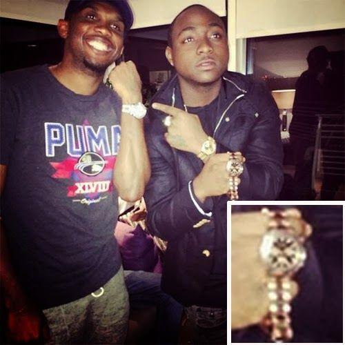 Topten Naija: Davido Flaunts The Gold Rolex Rose watch Chelsea S...