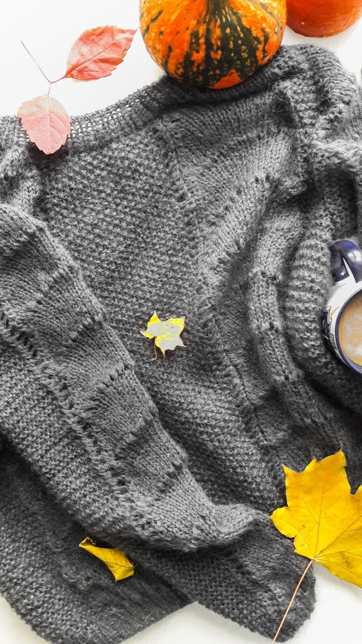 merino wool womens sweaters - grey merino wool sweater - grey sweater for women - mohair and merino sweater - grey mohair sweater - pumpkin - flat lay