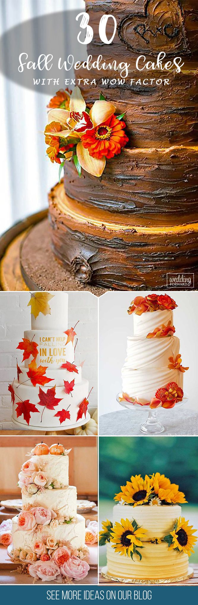 30 Fall Wedding Cakes That WOW ❤  Fall wedding cakes with fruits and golden leaves make a connection with autumn season. See more: http://www.weddingforward.com/fall-wedding-cakes/ #weddings #cakes