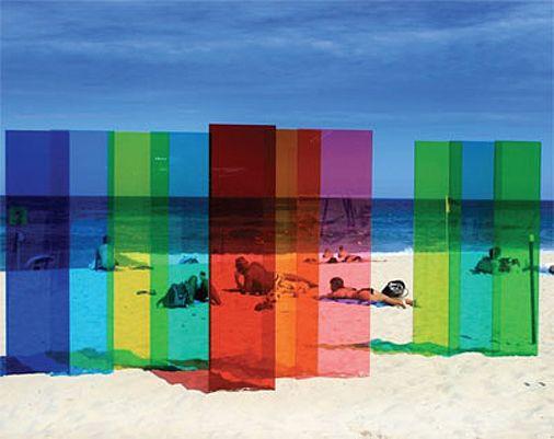 -beach + mountains.  For the property grounds.  Coloured plexi beach art installation, Sydney