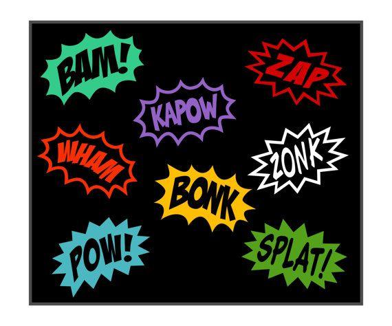 Comic SuperHero Cartoon Word Splashes  Vinyl by DesignSPLASH, $8.95 ---- THE BOY'S ROOM --- Brandy