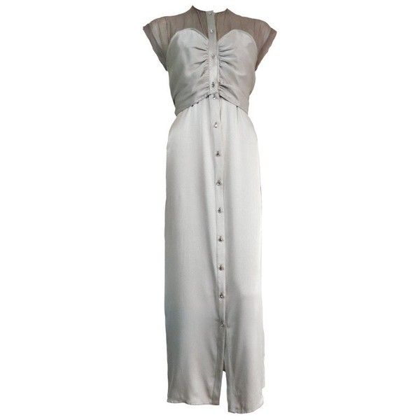 Preowned Vintage Geoffrey Beene Silk Evening Dress ($325) ❤ liked on Polyvore featuring dresses, evening dresses, grey, vintage dresses, gray dress, vintage grey dress, grey dresses and grey cocktail dress