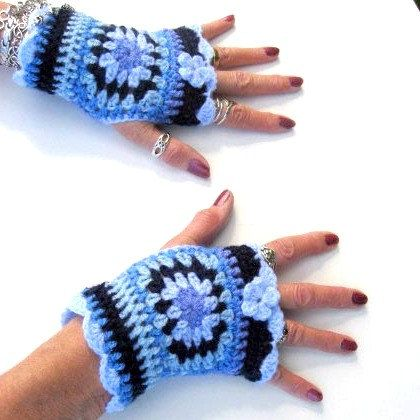 Fingerless gloves  granny square  wristers  blue  by PollyKrafts, £12.50
