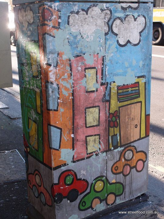 Phone box on corner Missenden Road and King St by artist Kylie Hoy, now painted over. #Newtown