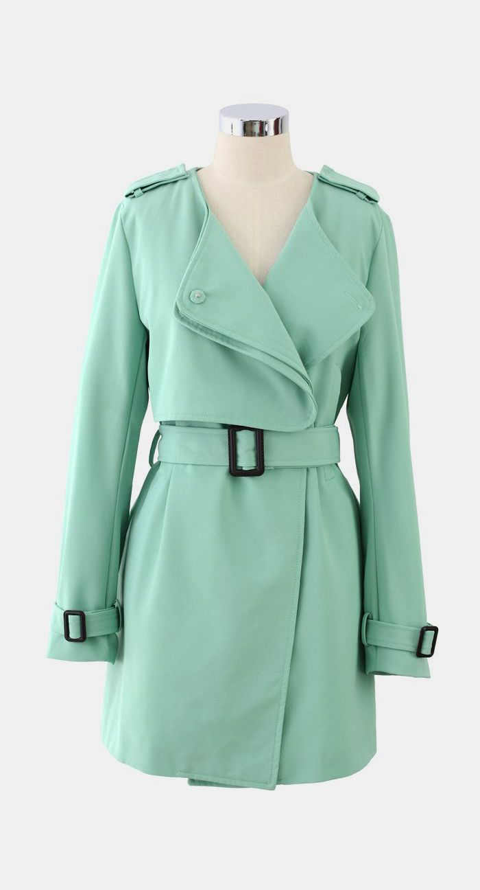 Chiffon Belted Trench Coat in Mint Green