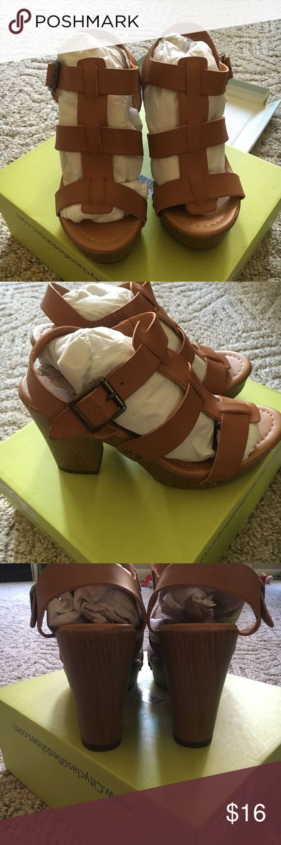 Brand new heels! Cute brown and tan chunky heels brand new!! Size 6.5 straight out of the box. Never worn because they're too small but I ordered the next size up and they're super comfortable I wore them to my graduation party! Bought from tillys Tilly's Shoes Heels