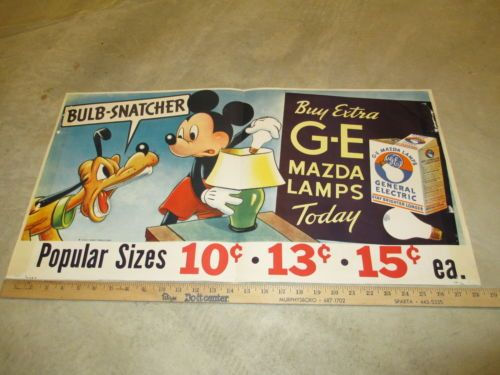 Disney-1941-Mickey-Mouse-Minnie-Pluto-GE-light-bulb-store-display-kit-13-items