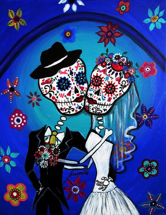 DIA De Los Muertos Art | Dia De Los Muertos Kiss The Bride Painting