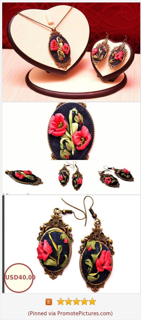 Stylish necklace Flower necklace and earrings Pendant Red flowers Ribbon embroidery Floral oval pendant and earrings Decoration for women https://www.etsy.com/LucysRibbonCreations/listing/554501618/stylish-necklace-flower-necklace-and?ref=shop_home_active_21  (Pinned using https://PromotePictures.com)