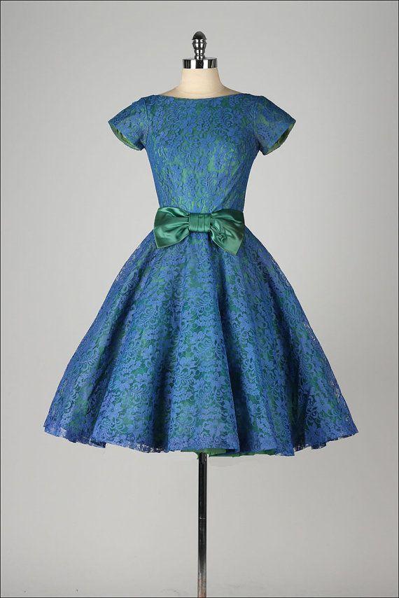 vintage 1950s dress . blue lace . green door millstreetvintage