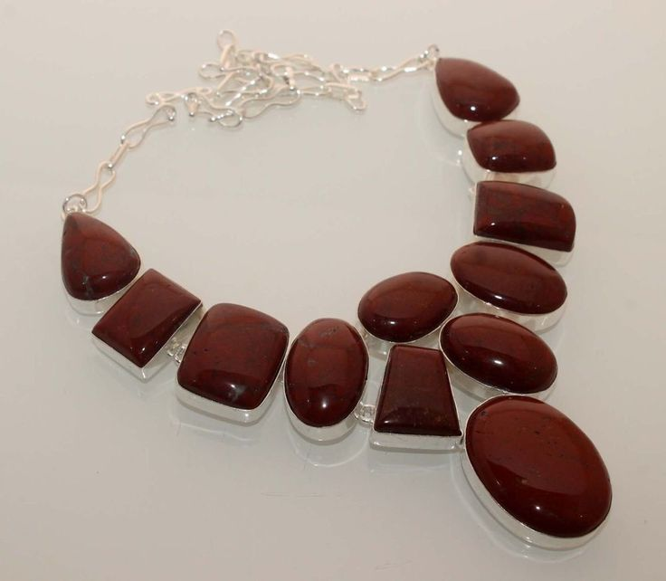 """CHOCOLATE BROWN JASPER JEWELRY 925 STERLING SILVER OVERLAY 18"""" NEW NECKLACE N838 #Handmade"""