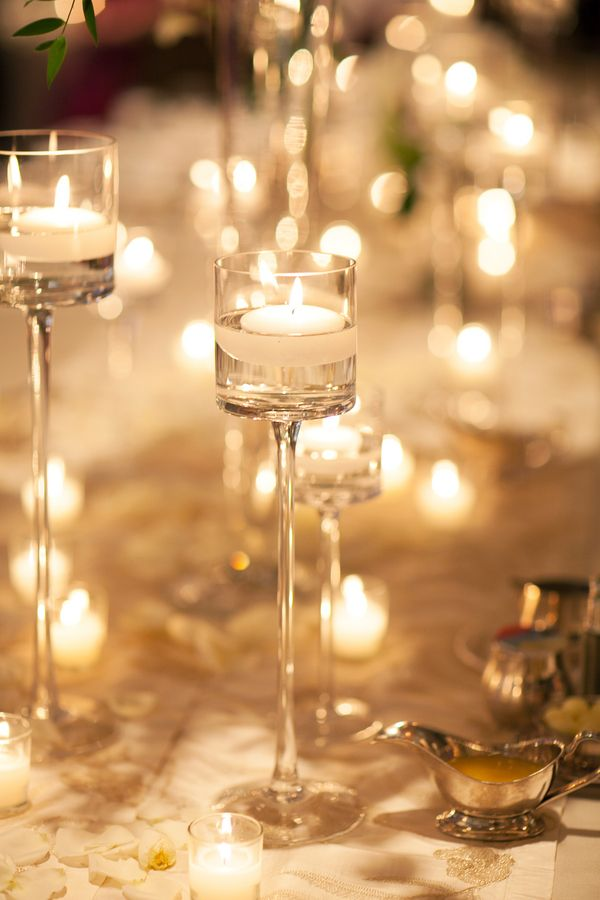 Tall Glass Candle Holder Reception Decor