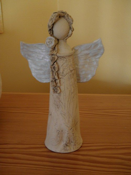 Andělinka - Angel in a natural style, partly glazed, approximately 22 cm tall.