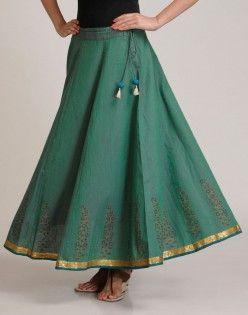 I love fabindia so much....Cotton Mangalgiri Khari Sequin Trim Ghera Long Skirt