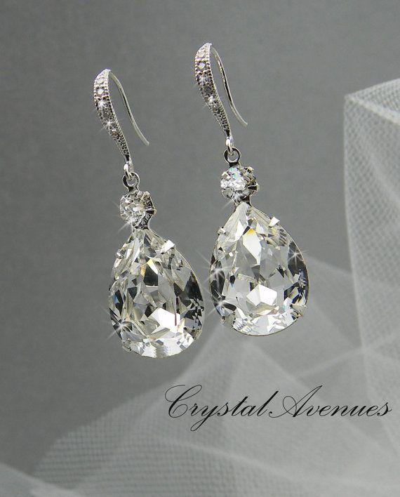 Swarovski crystal Bridal Earrings Tear drop by CrystalAvenues, $33.00