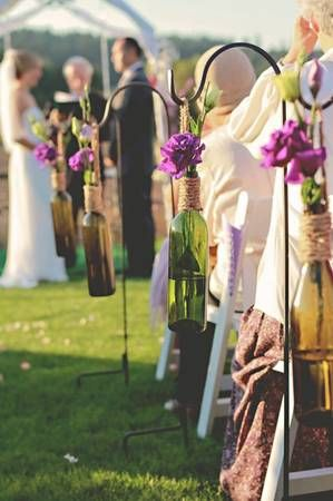Winery Wedding Decorations - Hanging Vases, Table Sconces