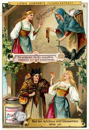 Die verkleidete Königin versucht es verbeblich mit dem Schnürriemen. Nach dem Apfelbisse sinkt Schneewittchen leblos um. | Schneewittchen | Quelle und mehr: http://t1p.de/Colecteo-Schneewittchen