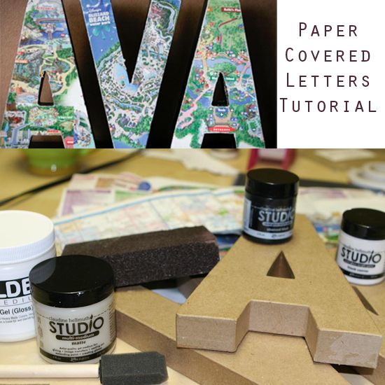 Paper Covered Letters....going to do this for the wedding