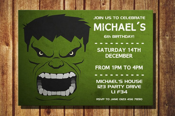 Personalized The Hulk Birthday Party Invitation Printable DIY Childrens Personalised Superhero Invite Superheroes The Hulk Avengers by TheDigiSloth on Etsy https://www.etsy.com/listing/256567355/personalized-the-hulk-birthday-party