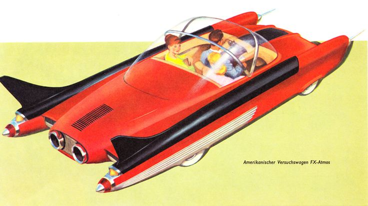 aus: Fred Dietrich - Schnelle Fahrt auf weiten Wegen, Bertelsmann Lesering Gütersloh, 1959 - retro-futurismus.de