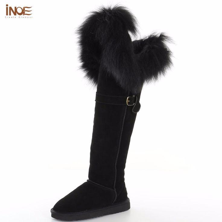 Купить товарИНОЕ новая мода бедренной кости коровы кожа замша натуральный мех лисы над коленом длинные зимой снега сапоги для женщин зимние обувь в категории Снег Сапогина AliExpress.    История бренда      -------------------------------------------------------------------------------------------------