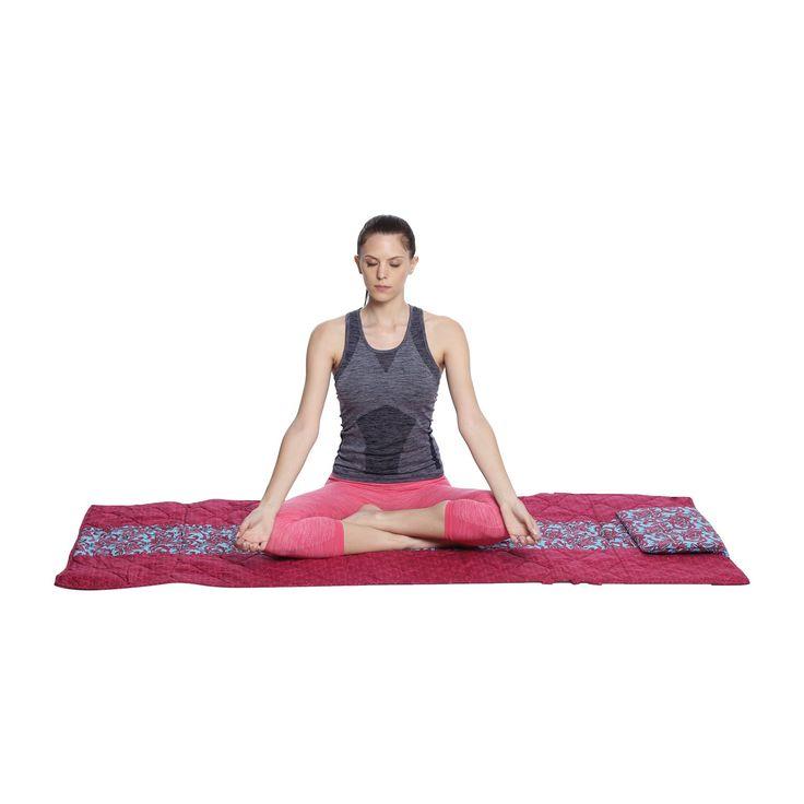 Shalinindia Printed Antiskid Padded Cotton Yoga Mat 200tc300 Gsm Filling72x30 Inchmachine Washableaqua Red Travel Yoga Mat Pilates Workout Yoga Meditation