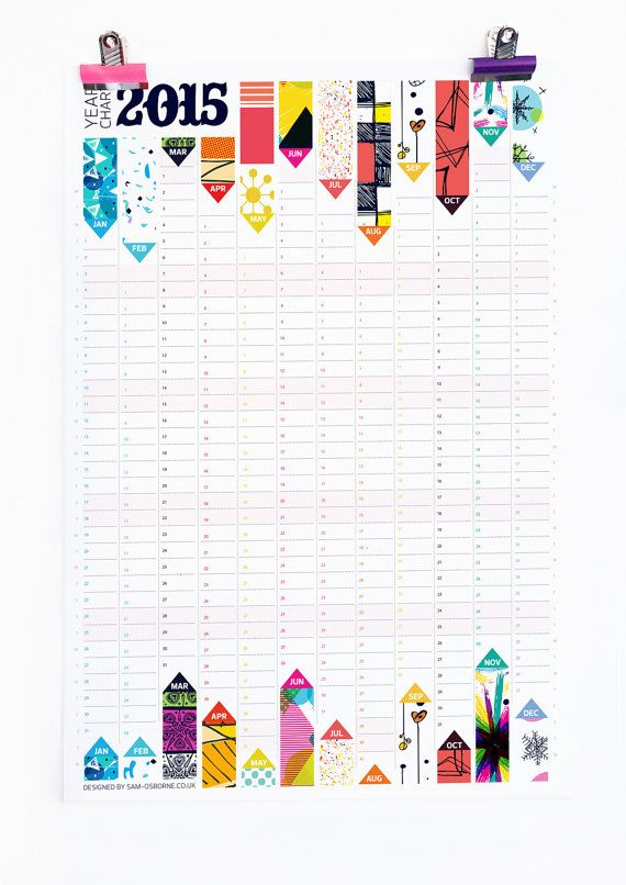 Wall Planner 2015 Calendar Office Organiser Pattern Reversible Design HG Wells Quote on Etsy, $25.32